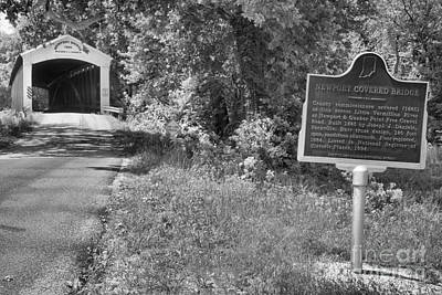 Photograph - Newport Covered Bridge Sign Black And White by Adam Jewell