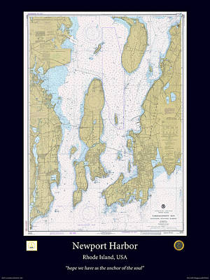 Nautical Chart Photograph - Newport Harbor by Adelaide Images