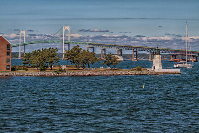 Photograph - Newport Harbor And The Newport Bridge by Brian MacLean