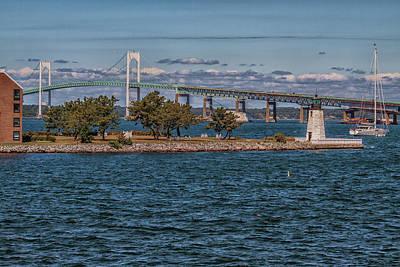 Photograph - Newport Harbor And The Newport Bridge by Brian MacLean