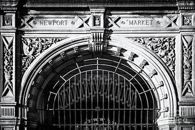 Newport Market Entrance Mono Print by Steve Purnell