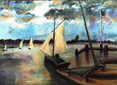 Newport Moonlight Sail Art Print by Randy Sprout