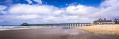 Newport Pier Panorama In Newport Beach California Print by Paul Velgos
