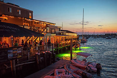 Photograph - Newport Ri Waterfrom At Dusk Newport Ri Waterfront Nightlife by Toby McGuire