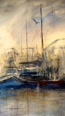 Painting - Newport Shipyard At Dusk by Sandra Strohschein