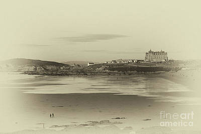 Photograph - Newquay With Old Watercolor Effect  by Nicholas Burningham