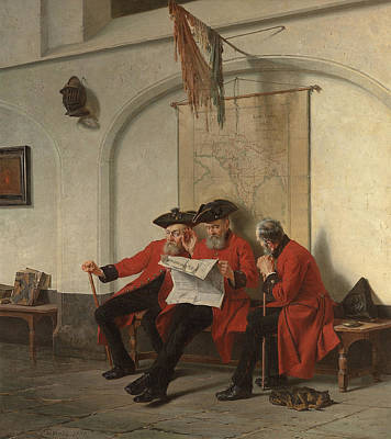 Old Map Painting - News From The Front by Charles Meer Webb