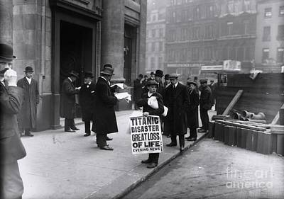 Newsboy In London Selling Newspapers Of Titanic's Sinking Art Print by The Titanic Project