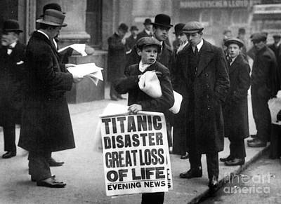 Newsboy Ned Parfett Announcing The Sinking Of The Titanic Print by English School