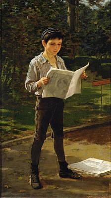 Newsboy Reading The Paper Art Print by Frederick Dielman
