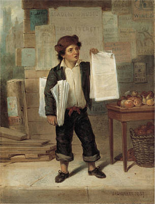 Photograph - Newsboy Selling New York Herald By by James Cafferty