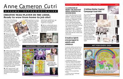 Digital Art - Newsletter Format Resume by Anne Cameron Cutri