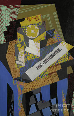 Art Journal Painting - Newspaper And Fruit Dish, 1916 by Juan Gris