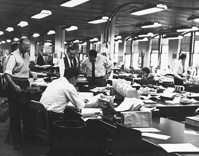 Journalism Photograph - Newspaper's City Room by Underwood Archives