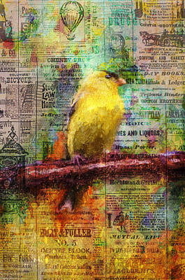 Painting - Newsprint Songbird by Christina VanGinkel