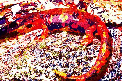 Salamanders Digital Art - Newt by Lora Battle