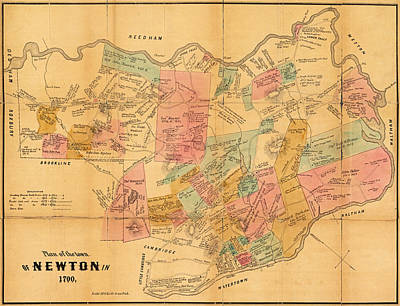 Newton Ma City Plans From 1700 Color Art Print