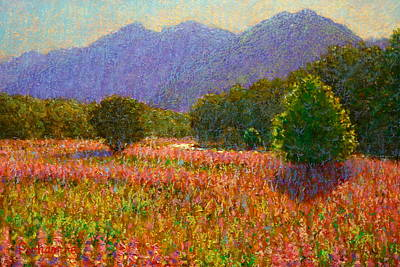 Painting - Newyear Lupins Egglinton Valley by Terry Perham