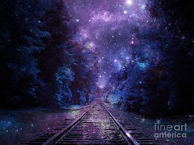 Childs Future Digital Art - Train Track Next Stop Anywhere Purple Blue by Johari Smith
