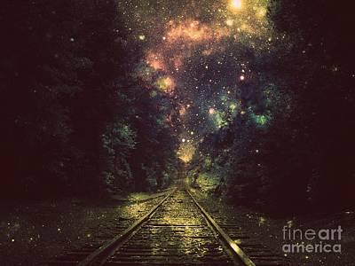 Fantasy Digital Art - Train Tracks Next Stop Anywhere by Johari Smith