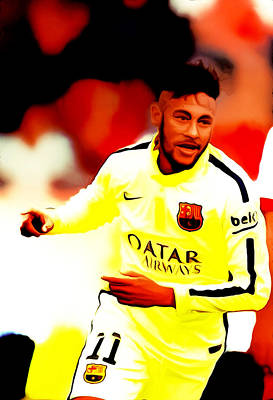 Pele Mixed Media - Neymar 02c by Brian Reaves