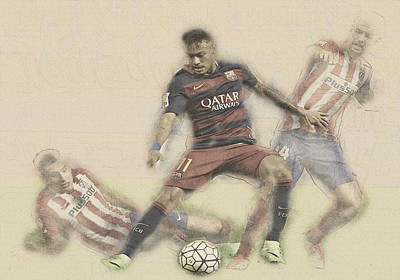 Wayne Rooney Digital Art - Neymar Fight For The Bal by Don Kuing