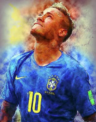 Neymar Wall Art - Painting - Neymar Jr Art Painting by Andres Ramos