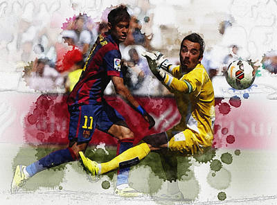 Neymar Kicks The Ball During Their Spanish First Division Soccer Original by Don Kuing