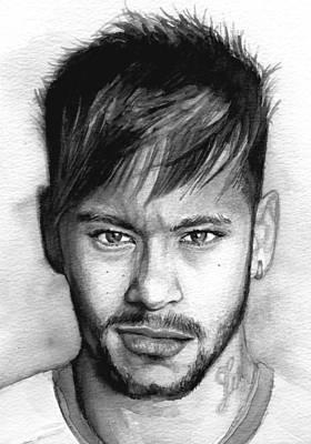 Neymar Wall Art - Painting - Neymar Portrait by Alban Dizdari