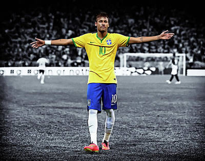 Neymar Wall Art - Painting - Neymar Scores Landscape Painting by Andres Ramos