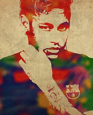 Neymar Wall Art - Mixed Media - Neymar Watercolor Portrait by Design Turnpike
