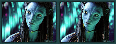 Conversion Digital Art - Neytiri - Gently Cross Your Eyes And Focus On The Middle Image by Brian Wallace