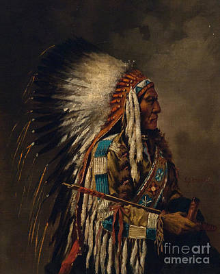 Painting - Nez Perce Chief by Edgar S Paxson