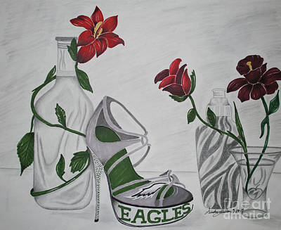 Champagne Glasses Drawing - Nfl Eagles Stiletto by Audrey Lindsey