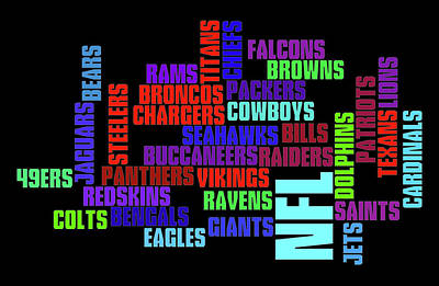 Athletes Royalty-Free and Rights-Managed Images - NFL Team Typography by Ricky Barnard