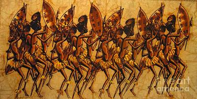 African Village Scene Painting - Ngoni Warriors by Mussa Chiwaula