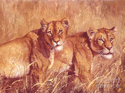 Merging Painting - Ngorongoro Lionesses by Silvia  Duran