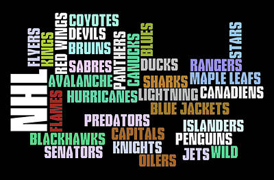 Athletes Royalty-Free and Rights-Managed Images - NHL Team Typography by Ricky Barnard