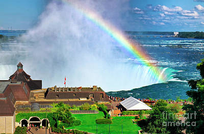 Photograph - Niagara Falls And Welcome Centre With Rainbow by Charline Xia