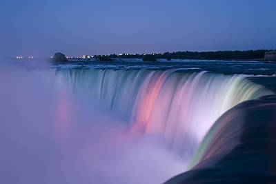 Lit Photograph - Niagara Falls At Dusk by Adam Romanowicz