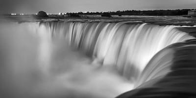 Panoramic Photograph - Niagara Falls At Dusk Black And White by Adam Romanowicz