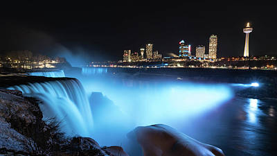 Photograph - Niagara Falls At Night - Blue by Framing Places