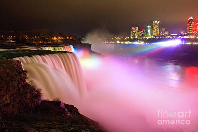 Photograph - Niagara Falls At Night by Jennifer Ludlum
