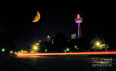 Photograph - Niagara Falls Crescent Moon by Charline Xia