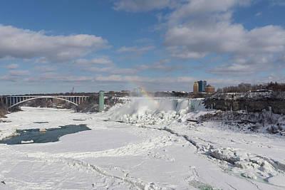 Photograph - Niagara Falls Deep Freeze - Rainbow Bridge The American Falls And A Rainbow Of Course by Georgia Mizuleva