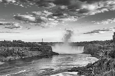 Photograph - Niagara Falls Evening 2 Bw by Steve Harrington