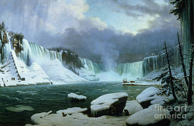 Oil Landscape Painting - Niagara Falls by Hippolyte Victor Valentin Sebron