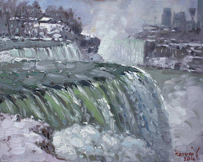Winter Landscape Painting - Niagara Falls In Winter  by Ylli Haruni