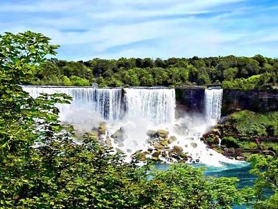Photograph - Niagara Falls On - American Falls And Bridal Veil Falls by Susan Savad