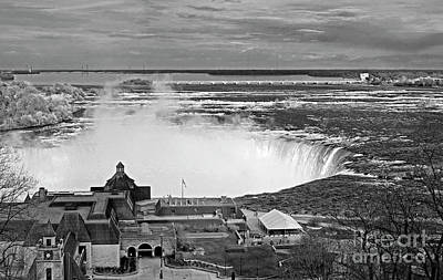 Photograph - Niagara Falls Table Rock Welcome Centre Mono by Charline Xia